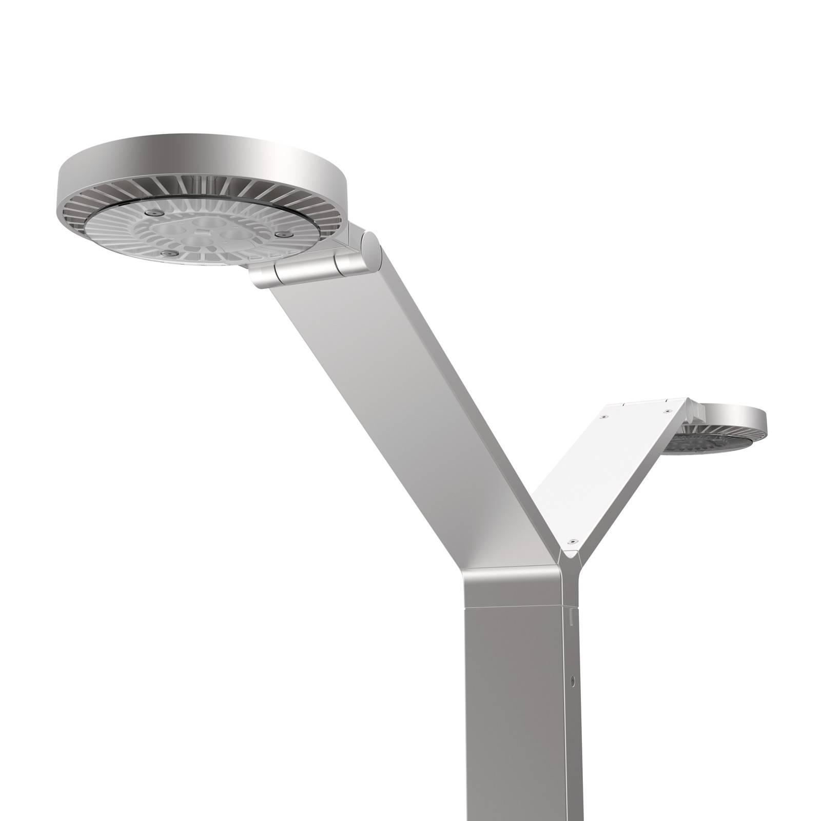 Luctra Floor Twin Radial LED-lattiavalo alumiini