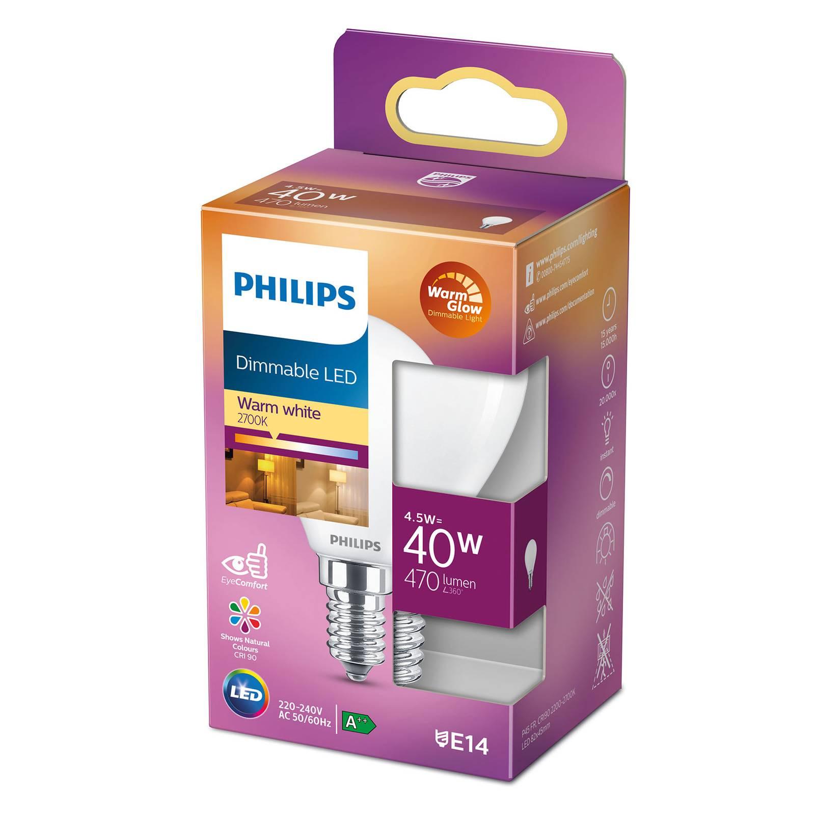 Philips LED Classic WarmGlow E14 P45 3,4W matta