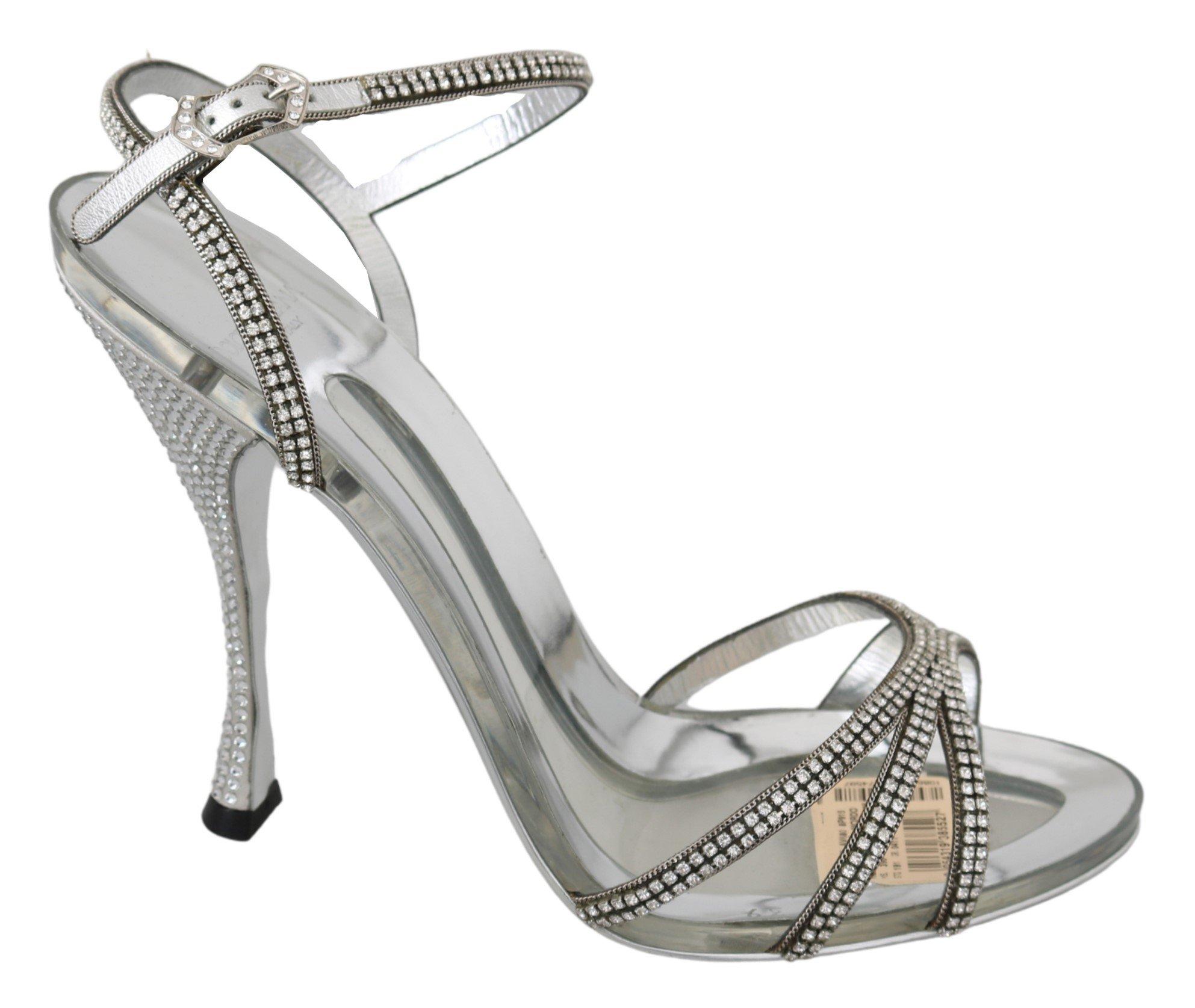 Dolce & Gabbana Women's Crystal Ankle Strap Sandal Silver LA6906 - EU39/US8.5