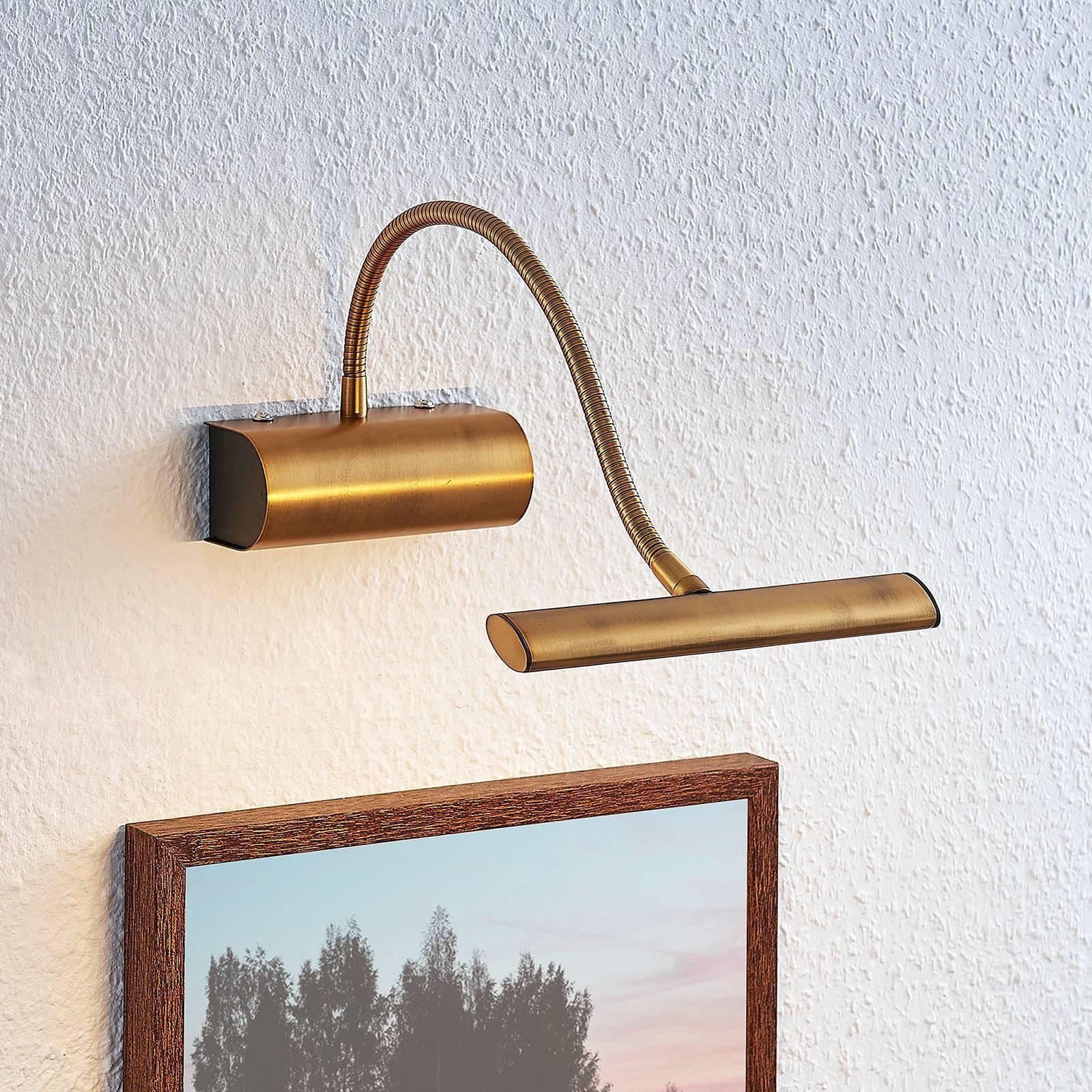 Rakel LED-bildelampe fleksibel arm, antikk messing