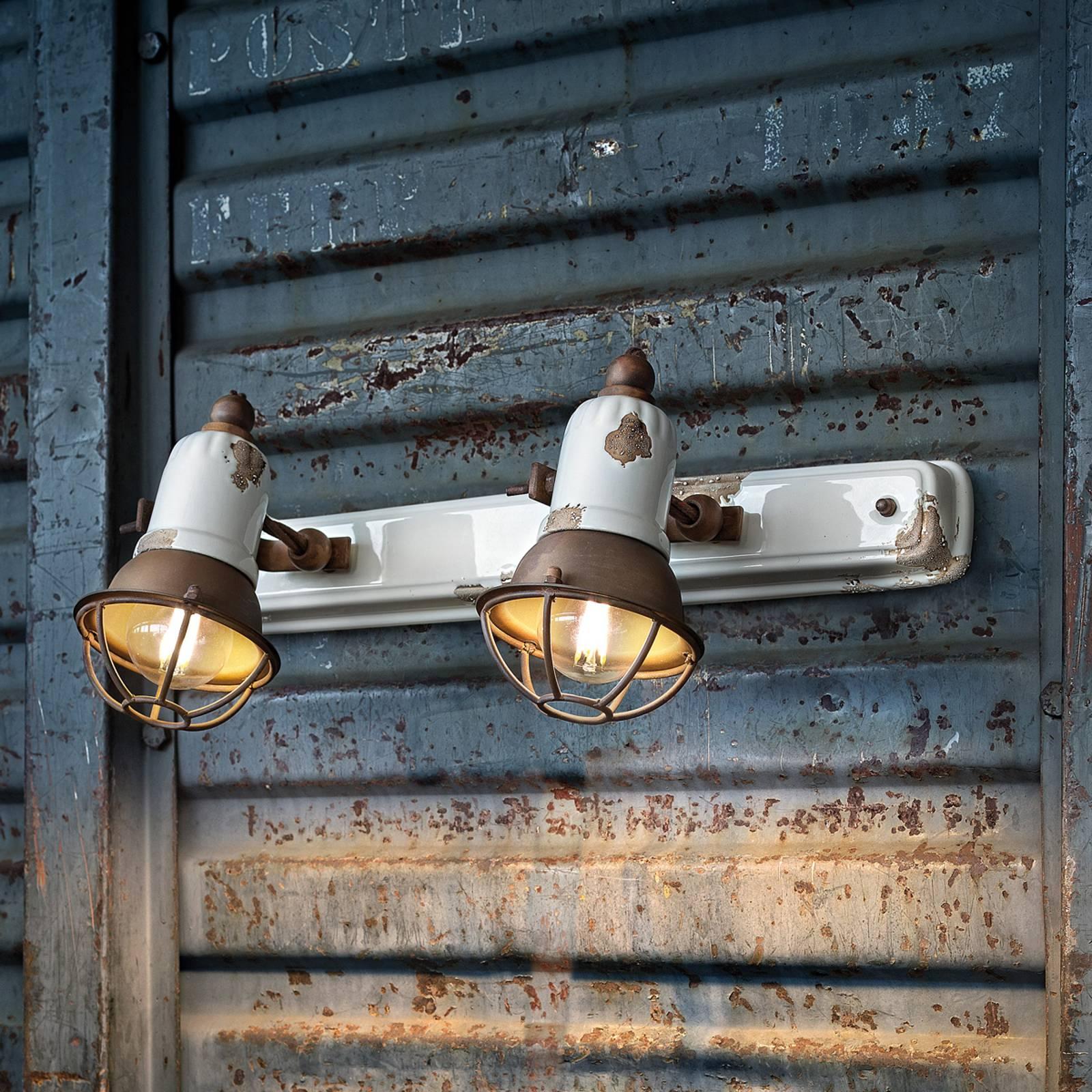 Seinävalaisin C1676/1, 2-lamppuinen, valkoinen