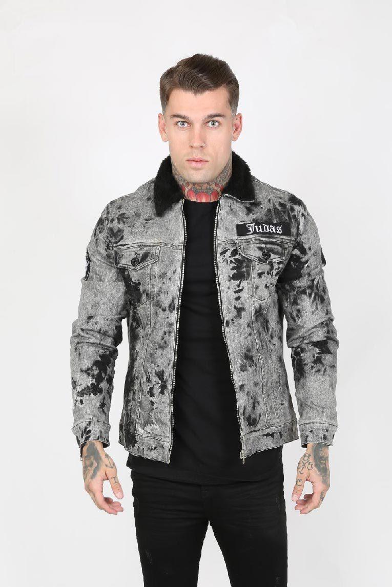 Trip Crystal Yoke Trucker Men's Jacket - Electric Grey, Large
