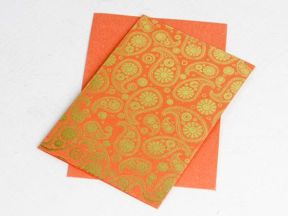 Orange Paisley Printed Card Medium