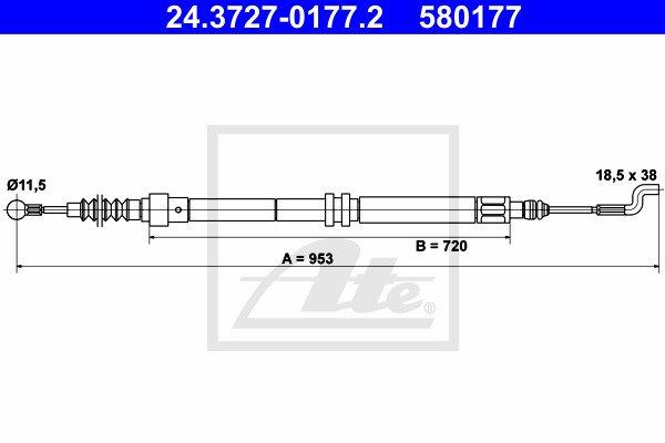 Käsijarruvaijeri ATE 24.3727-0177.2