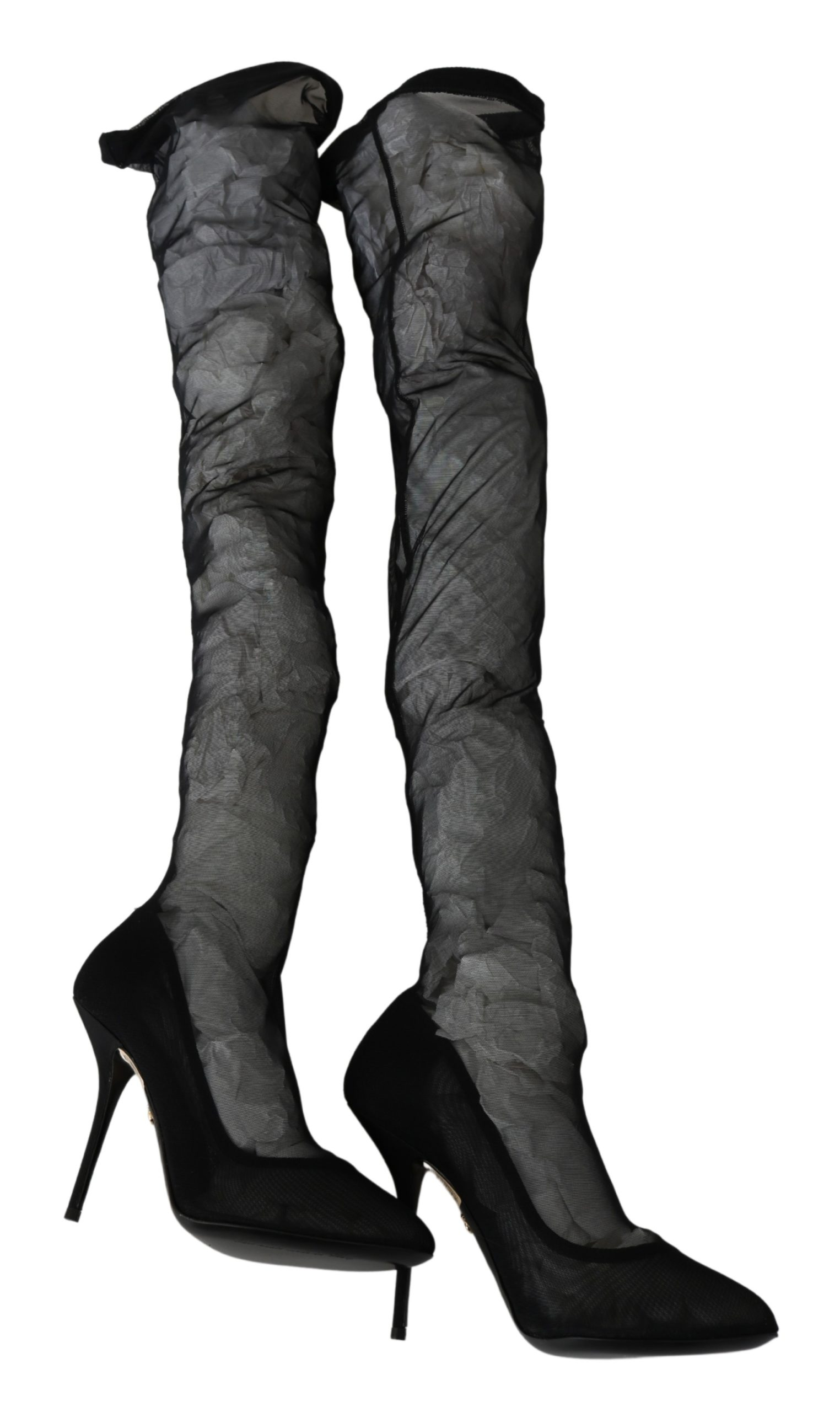 Dolce & Gabbana Women's Tulle Stretch Knee Boots Black LA6917 - EU37/US6.5