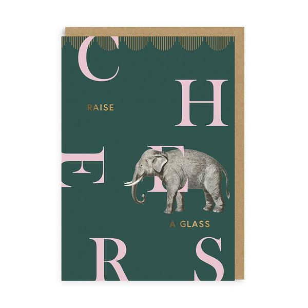 Cheers Elephant Birthday Greeting Card