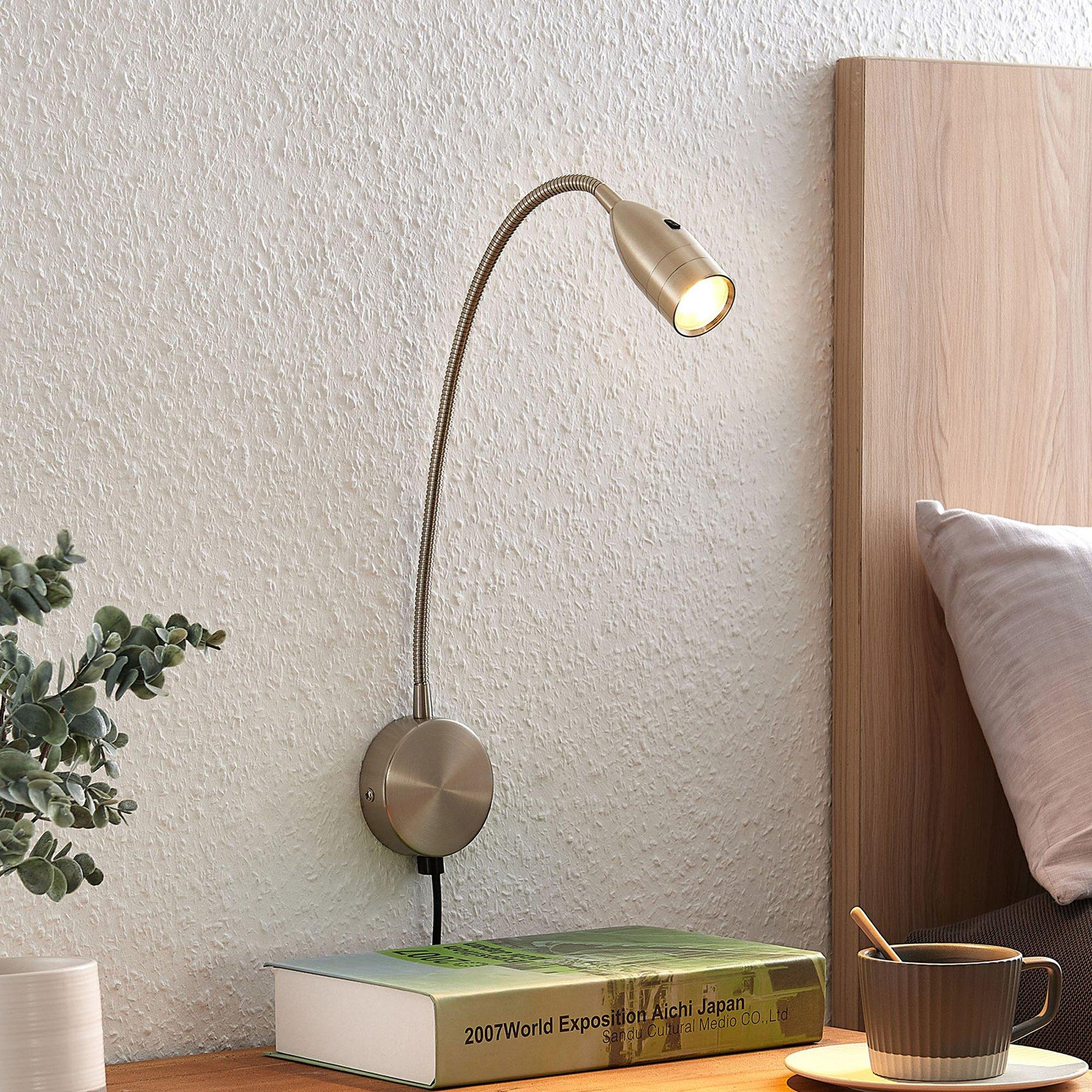 Lindby Ammara LED-vegglampe, satinert nikkel