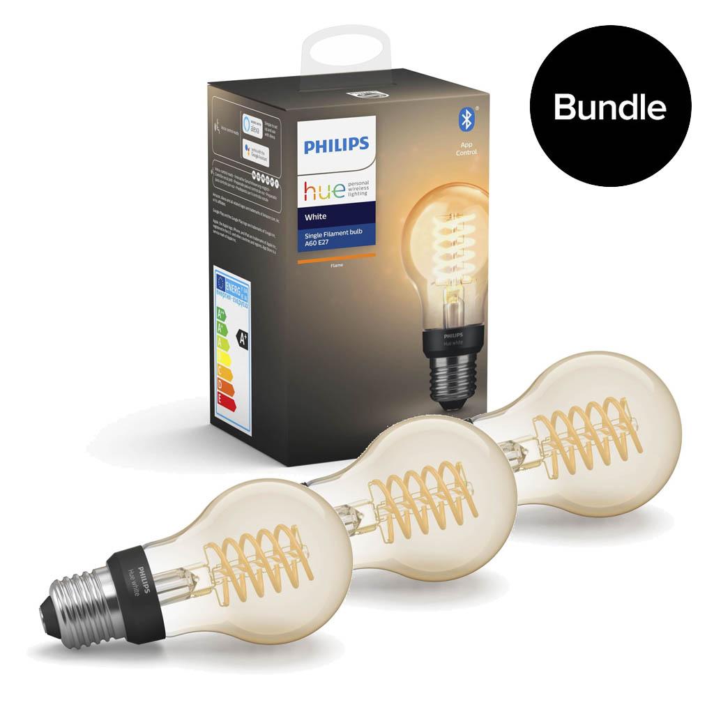 Philips Hue - 3xE27 Filament A60 - White - Bluetooth - Bundle