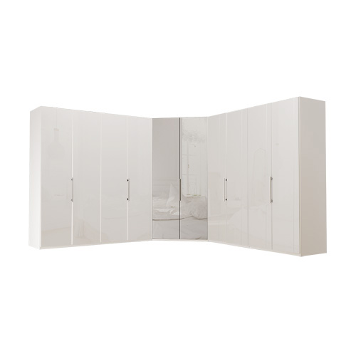 Garderobe Atlanta - Hvit 200 + walk-in + 200, 216 cm, Hvitt glass