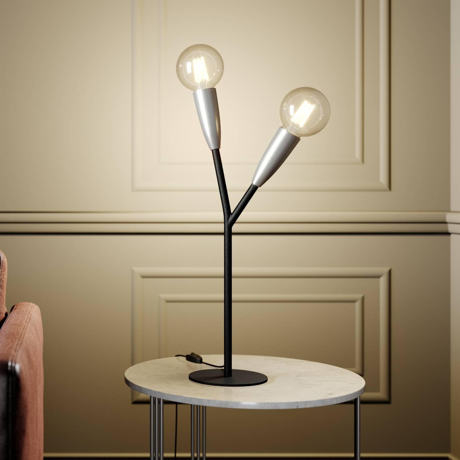 Lucande Carlea bordlampe, 2 lysk., svart nikkel