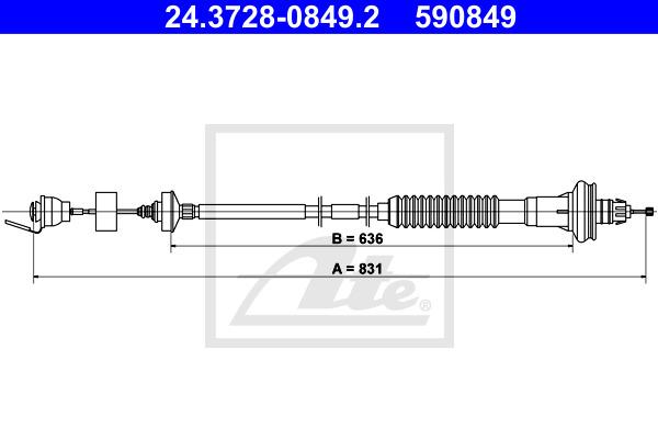 Kytkinvaijeri ATE 24.3728-0849.2