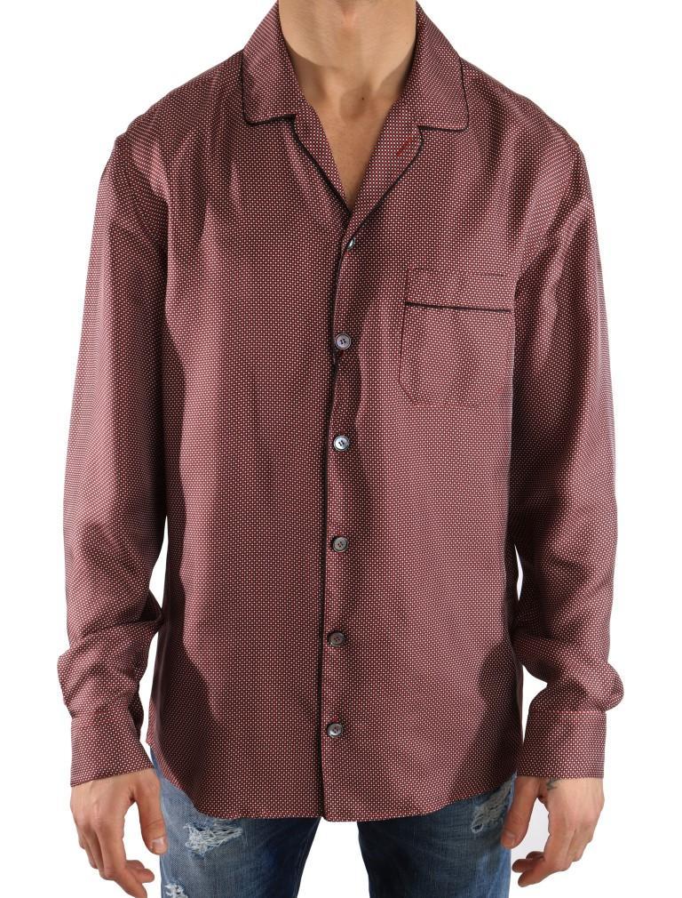 Dolce & Gabbana Men's Polka Dot Silk Shirt Red TSH2058 - 40