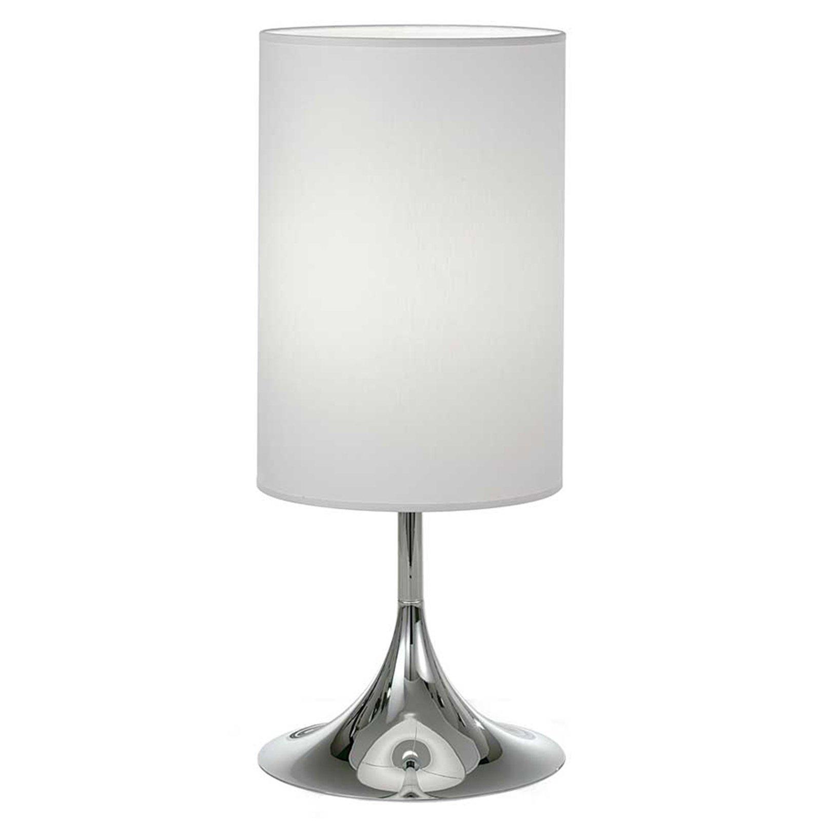Flute bordlampe hvit krom 55 cm