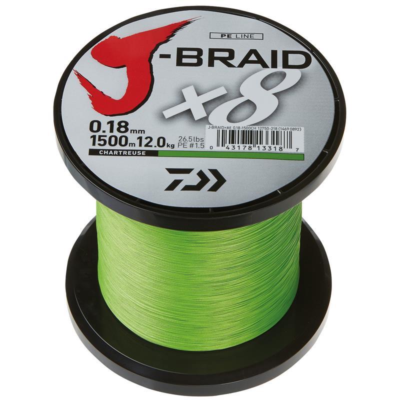 Daiwa J-Braid X8 1500m - 0,42mm Chartreuse