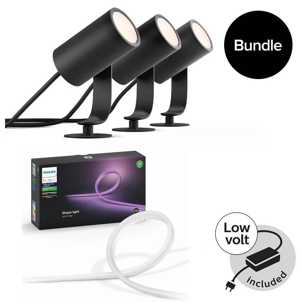 Philips Hue - Lily Outdoor Spot Light Basekit & Outdoor Lightstrip 5m - Bundle
