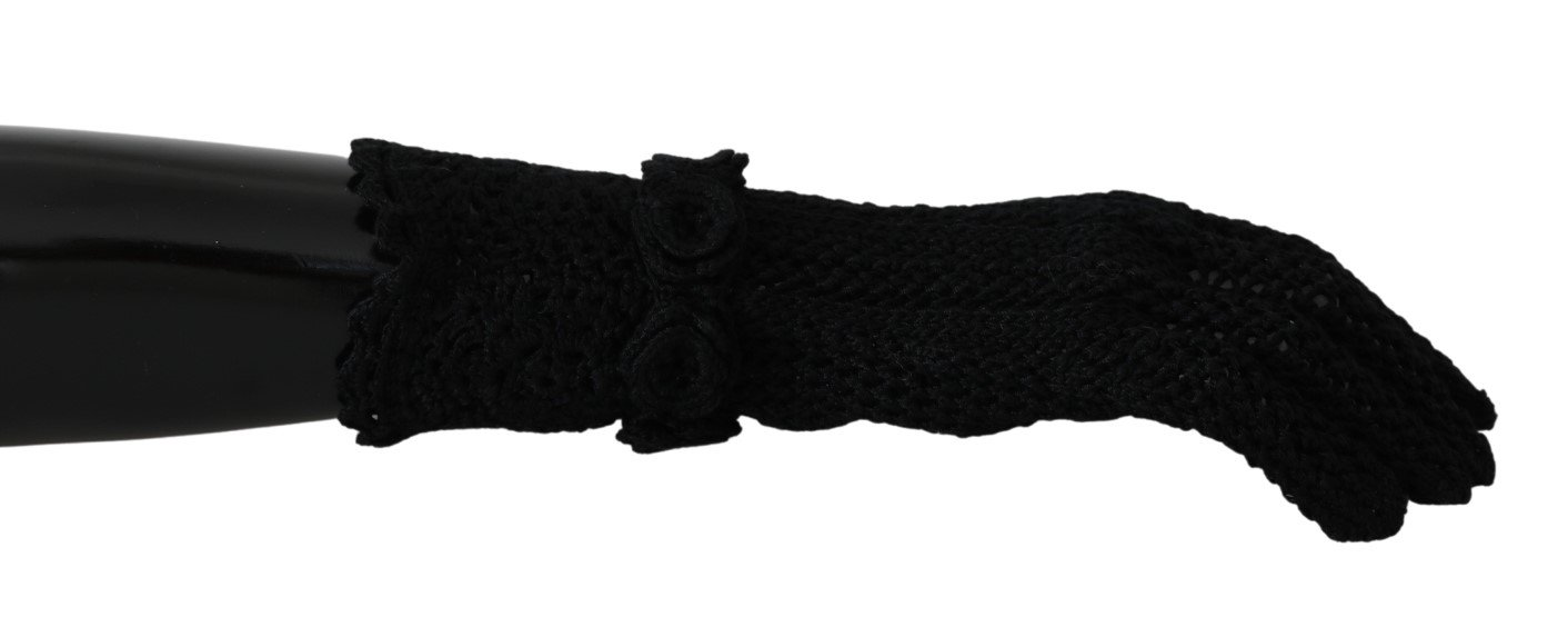 Dolce & Gabbana Women's Knitted Mid Arm Length Cotton Gloves Black LB1008 - 7.5 S