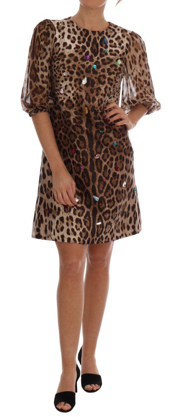 Dolce & Gabbana Women's Leopard Crystal Embellished Shift Dress Brown DR1375 - IT40|S