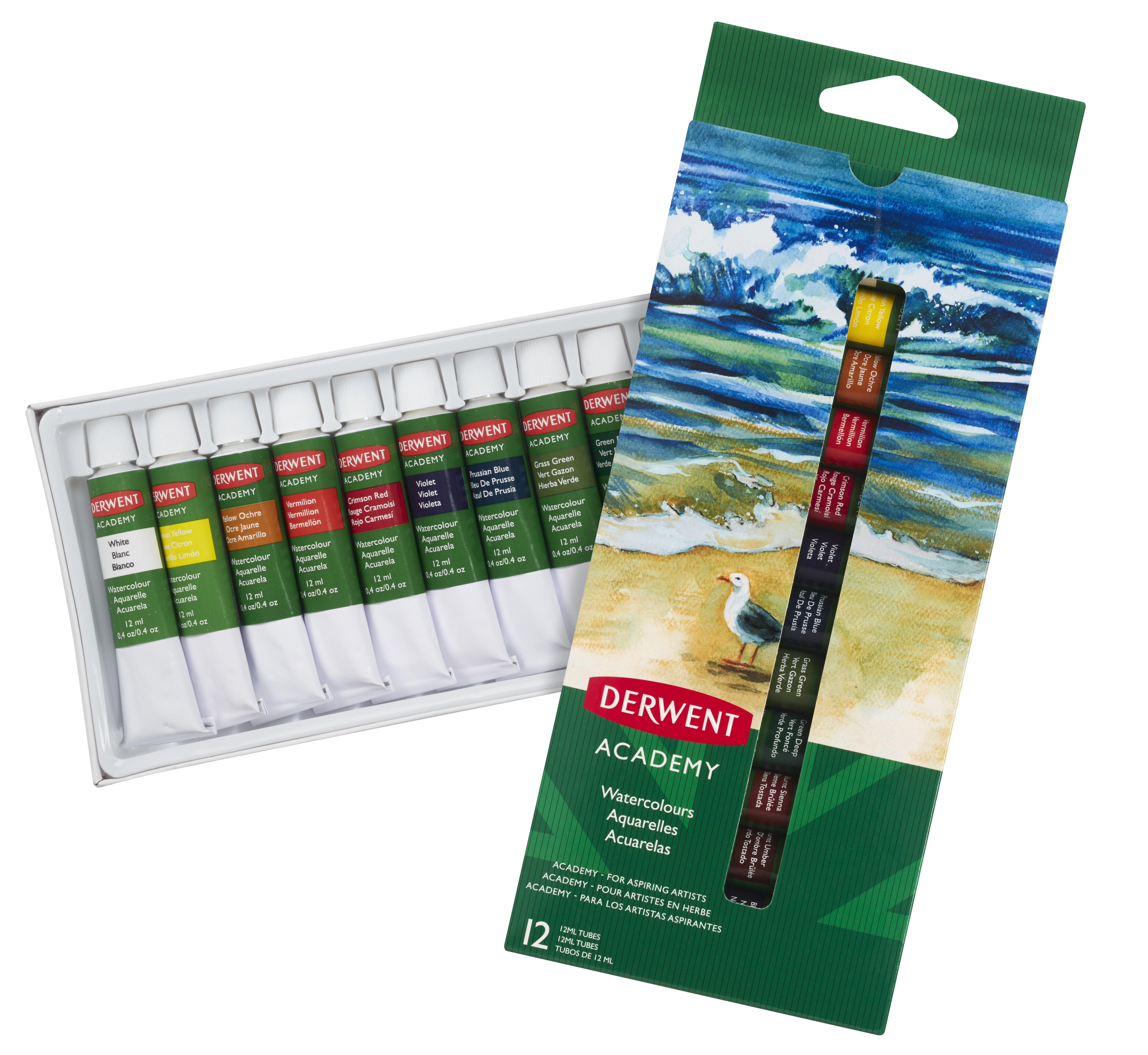 Derwent - Academy Watercolour Paints, Set of 12 x 12ml
