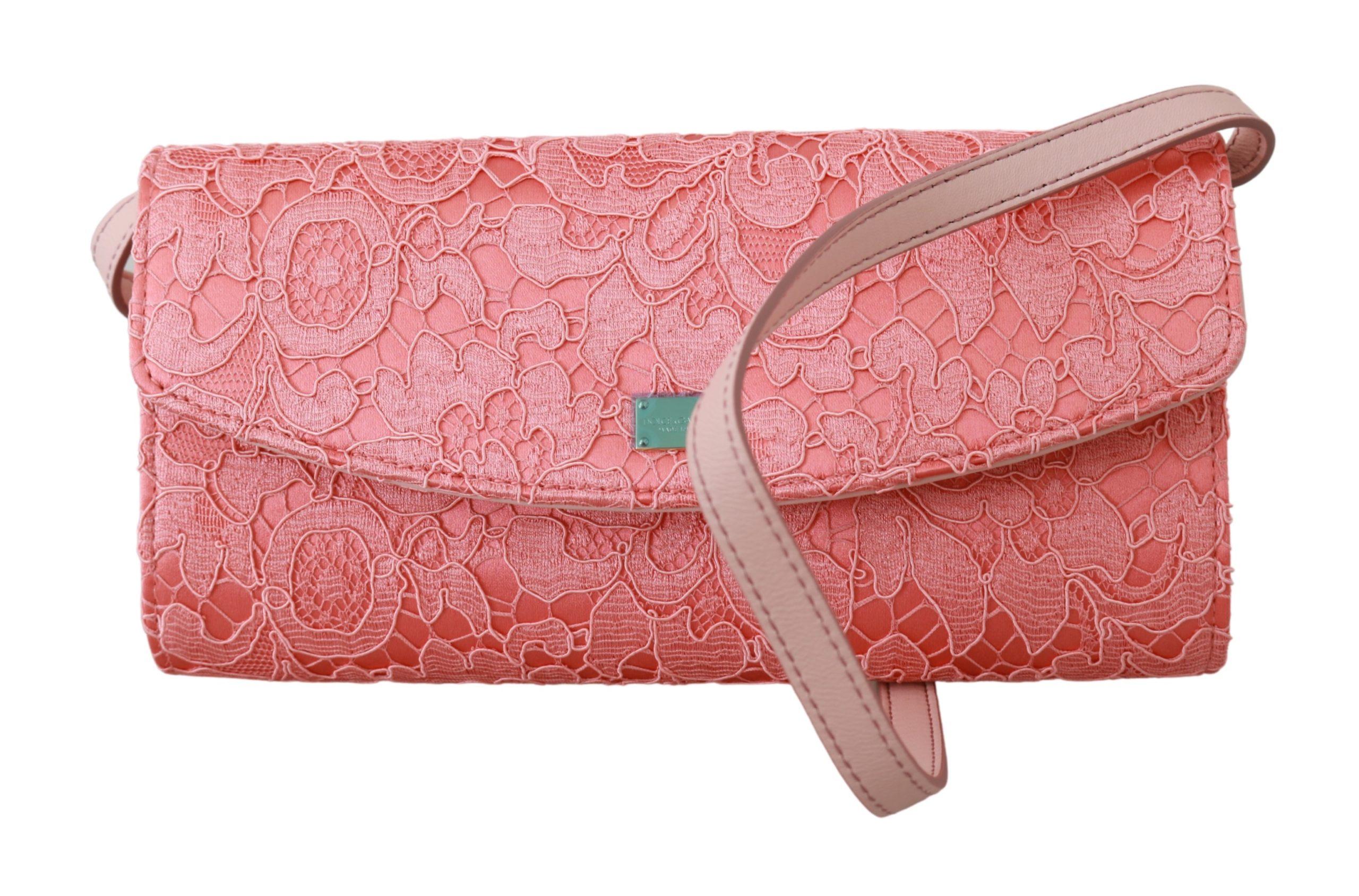 Dolce & Gabbana Women's Floral Lace Evening Long Cotton Crossbody Bag Pink VAS9204