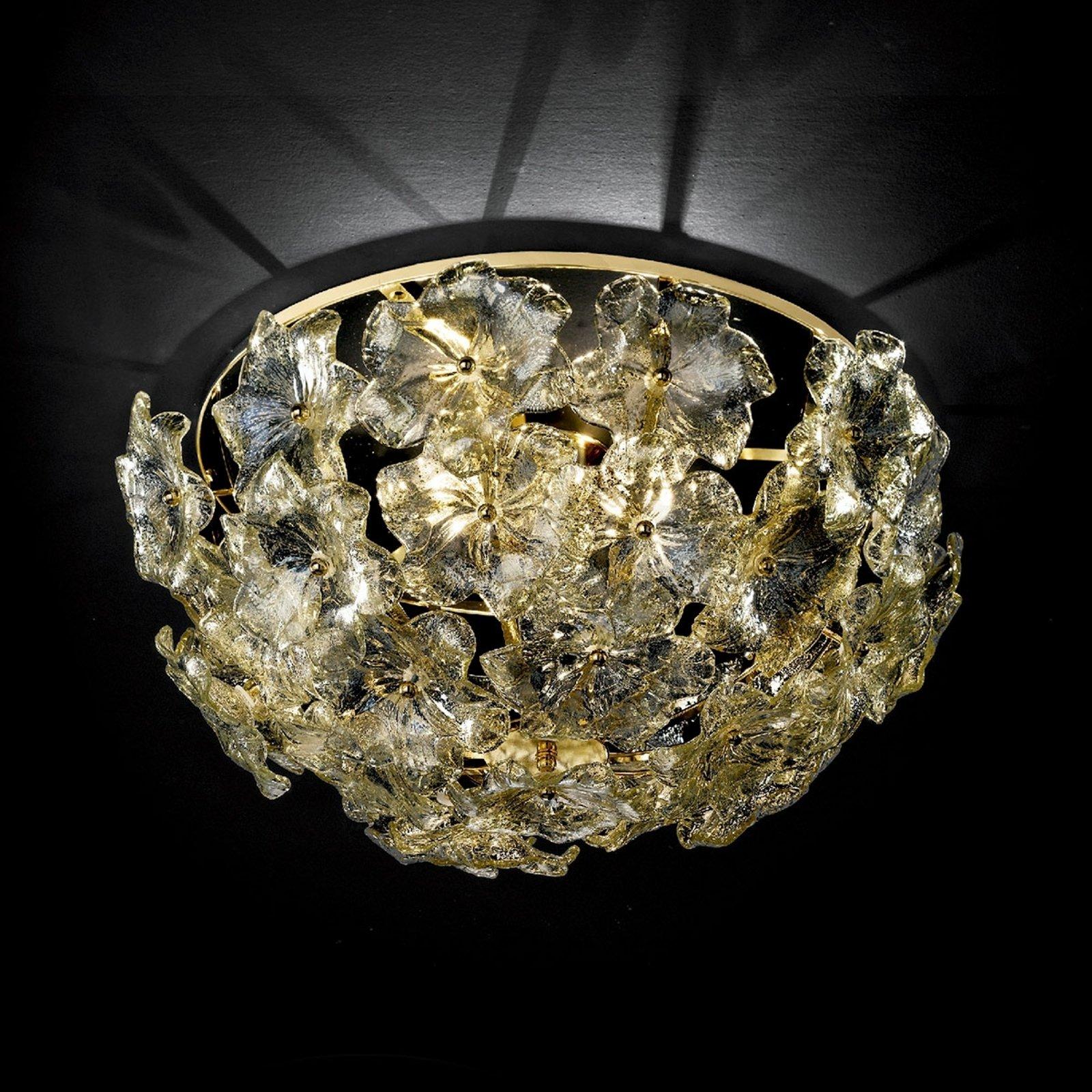 Blomstret Taklampe Lotvs av muranoglass