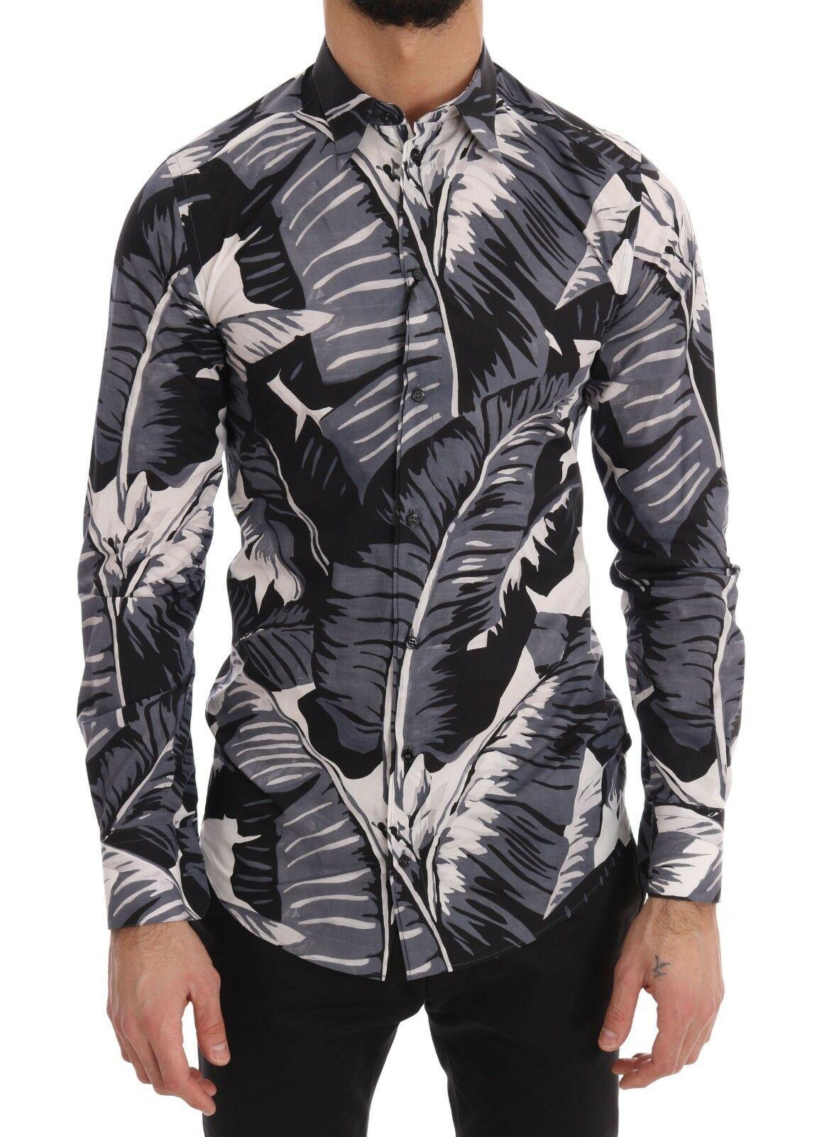 Dolce & Gabbana Men's Banana Leaf Slim Fit Shirt Blue TSH2568 - IT37 | XS