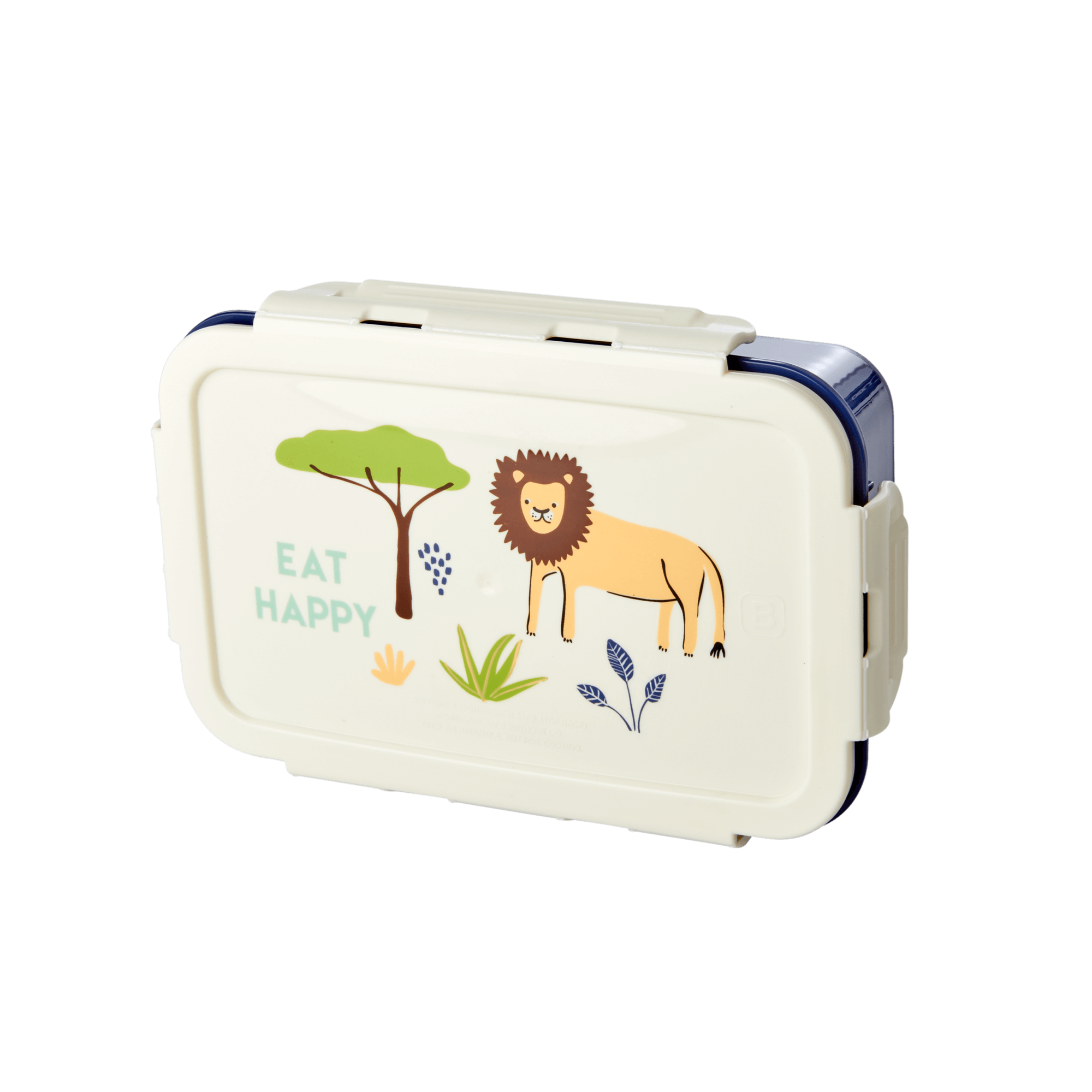 Rice - Lunchbox w. 3 Inserts - Blue Jungle Print