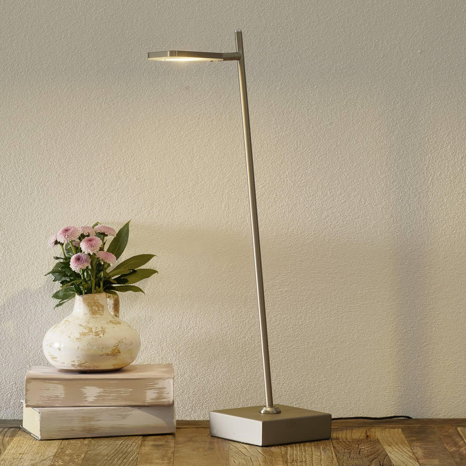 LED-pöytälamppu Block, teräksenvärinen