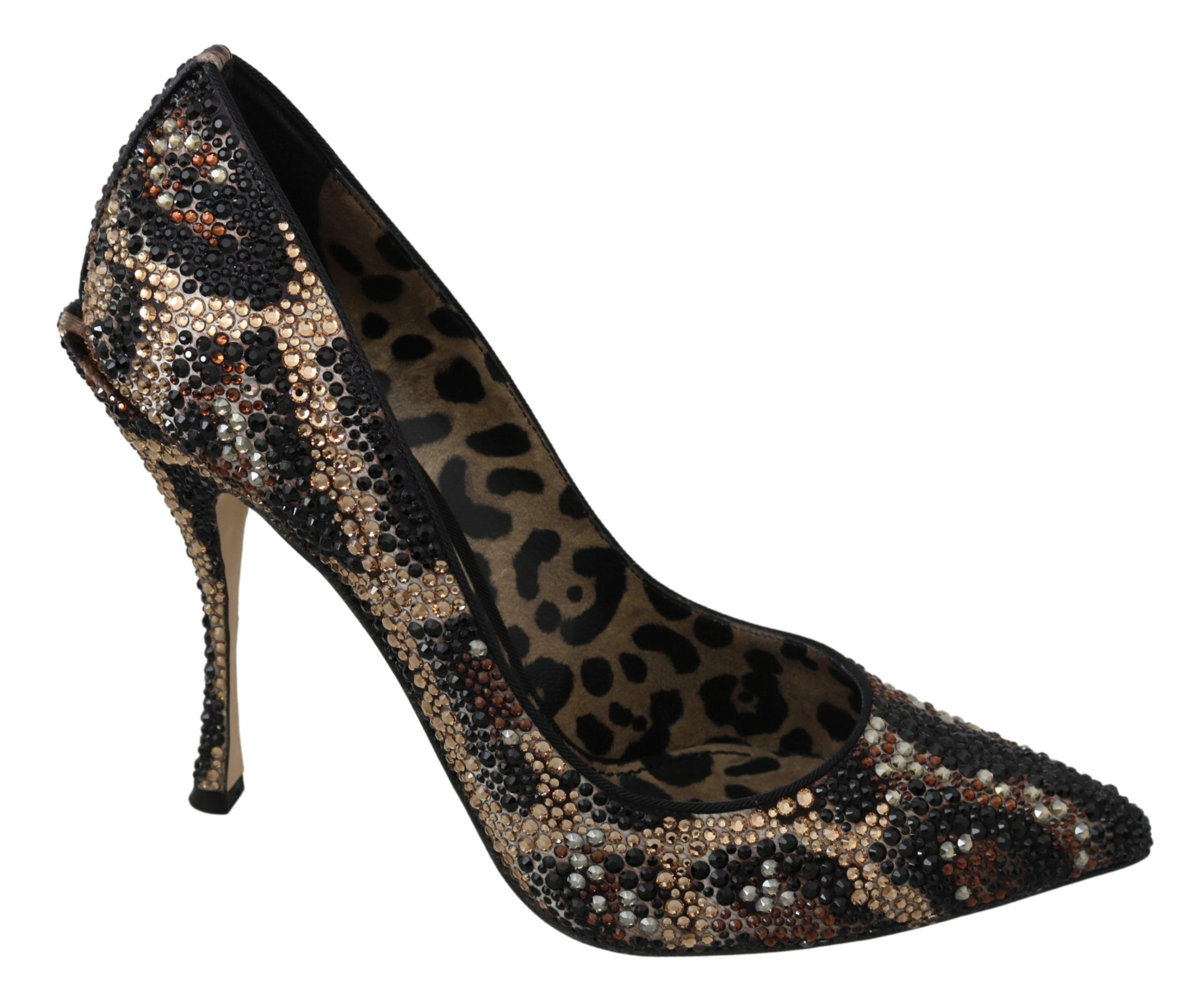 Dolce & Gabbana Women's Leopard Crystals High Heel Pumps Brown LA7125 - EU40.5/US7.5