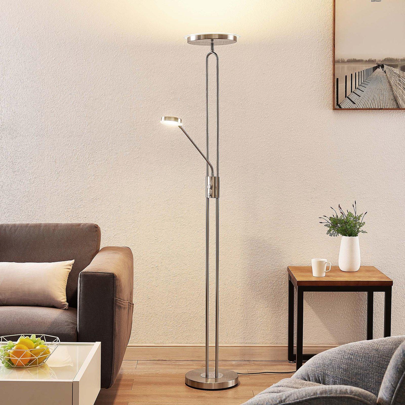 Lindby Twina LED-gulvlampe, satinert krom