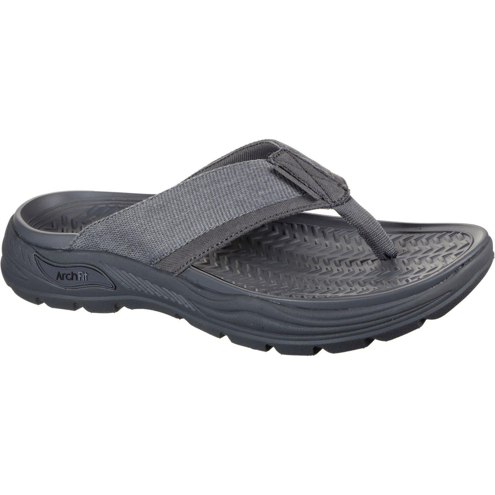 Skechers Men's Arch Fit Motley Dolano Summer Sandal Charcoal 32209 - Charcoal 10