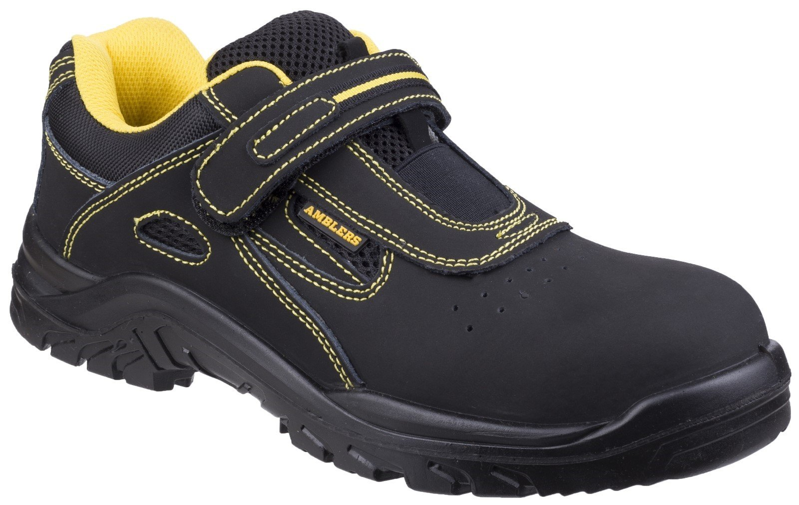 Amblers Unisex Safety Breathable Touch Fastening Trainer Black - Black 6