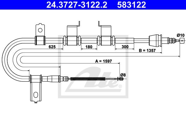 Käsijarruvaijeri ATE 24.3727-3122.2