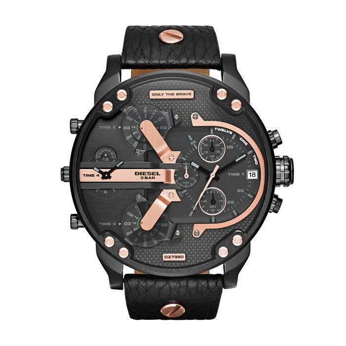 Diesel Men's Mr. Daddy 2.0 Multifunction Leather Watch Black DZ7350