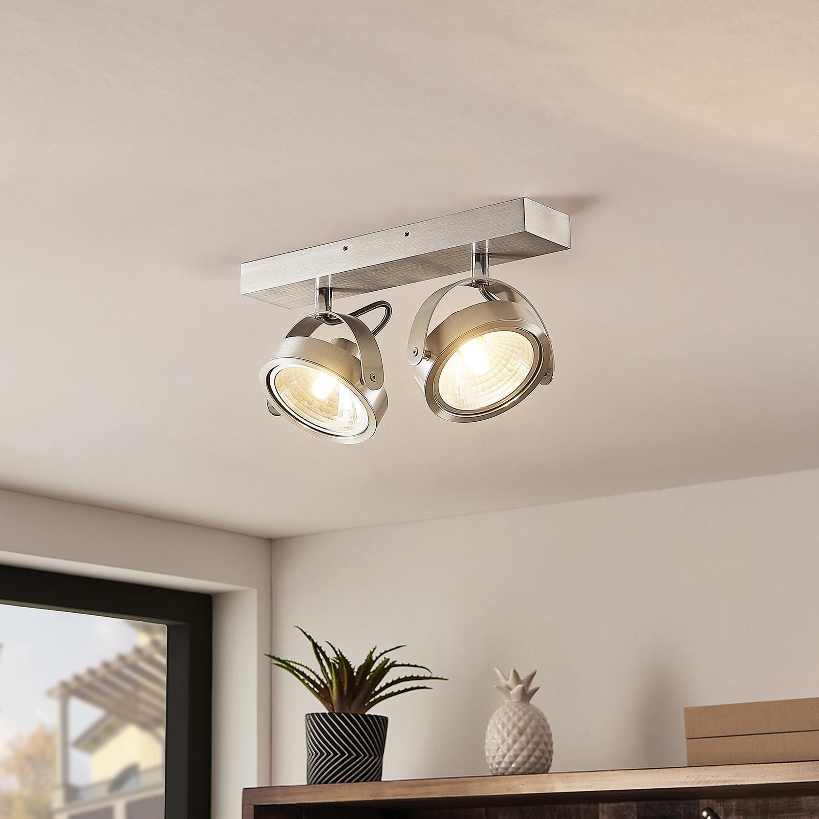 ELC Mitella -kattospotti, 2-lamppuinen, alumiini
