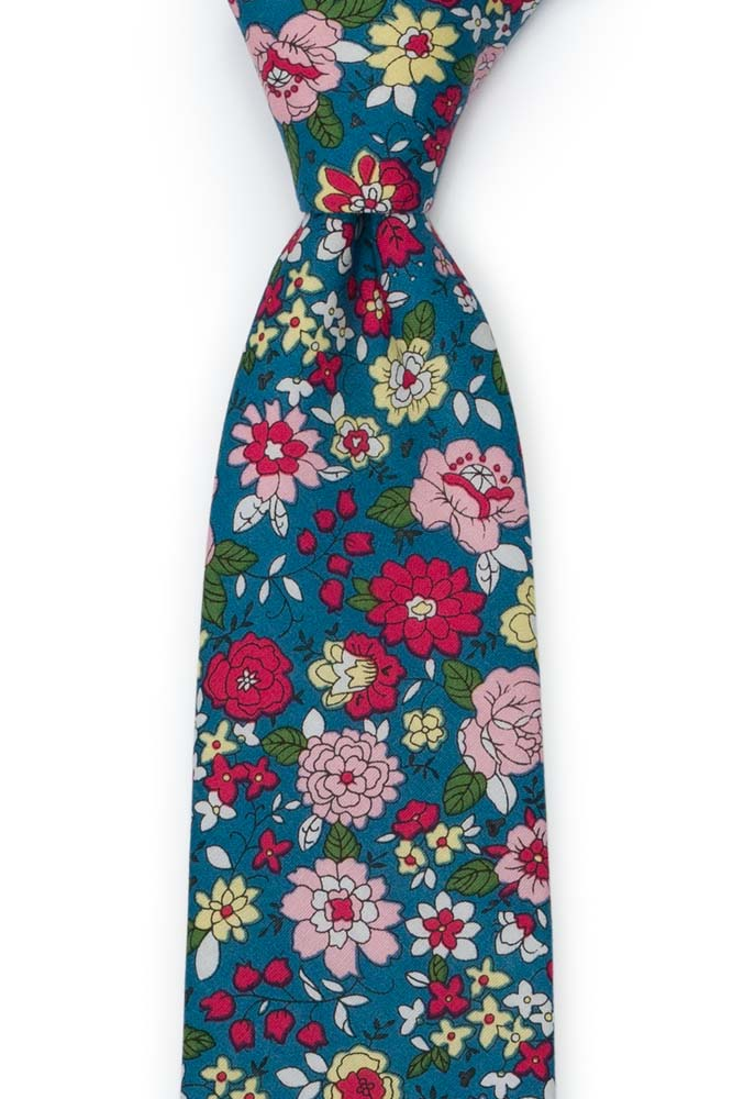 Bomull Slips, Blomster i rødt, rosa, gult og mørk Bondi Blue, Blå, Blomster