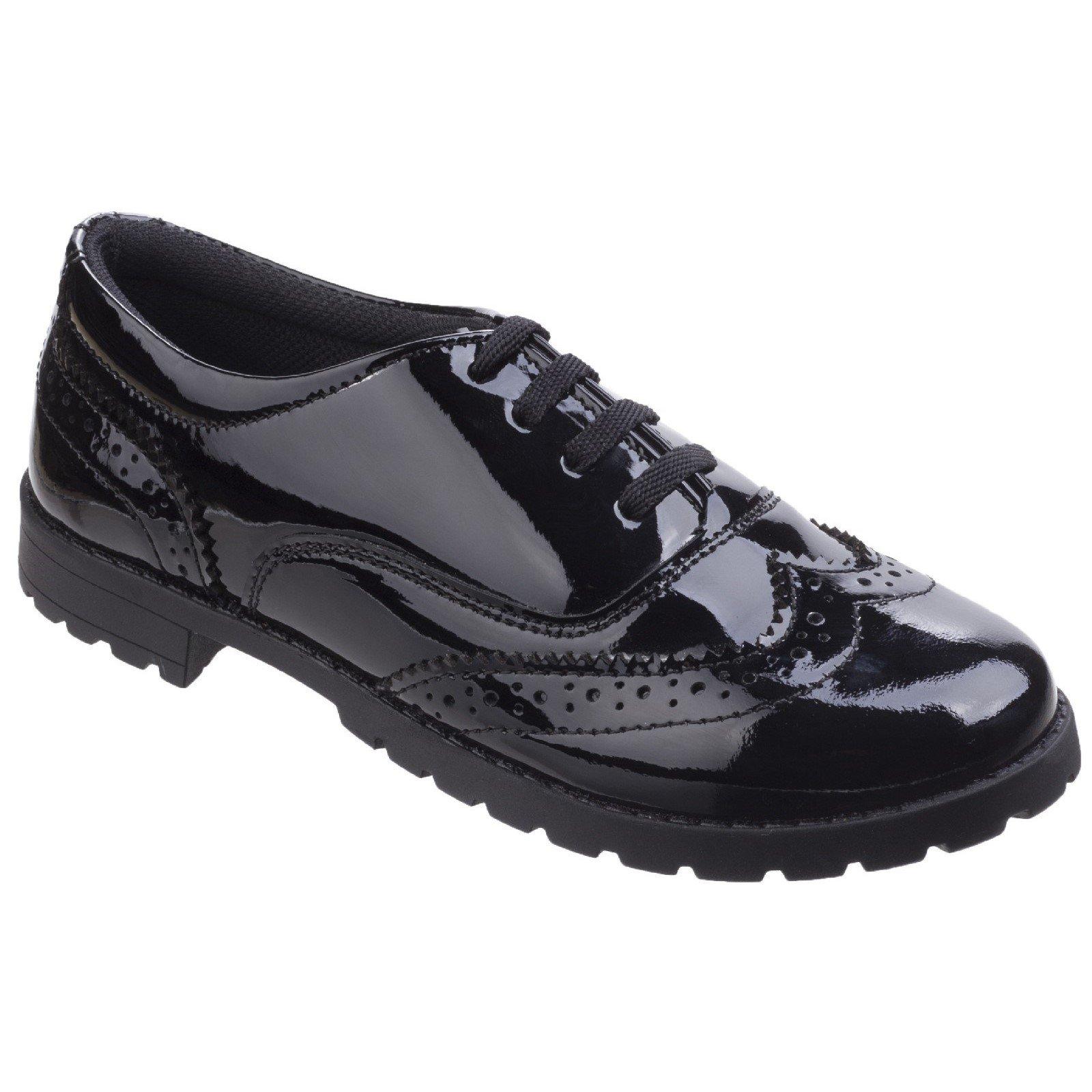 Hush Puppies Kid's Eadie Junior Patent School Shoe Black 32734 - Patent Black 11