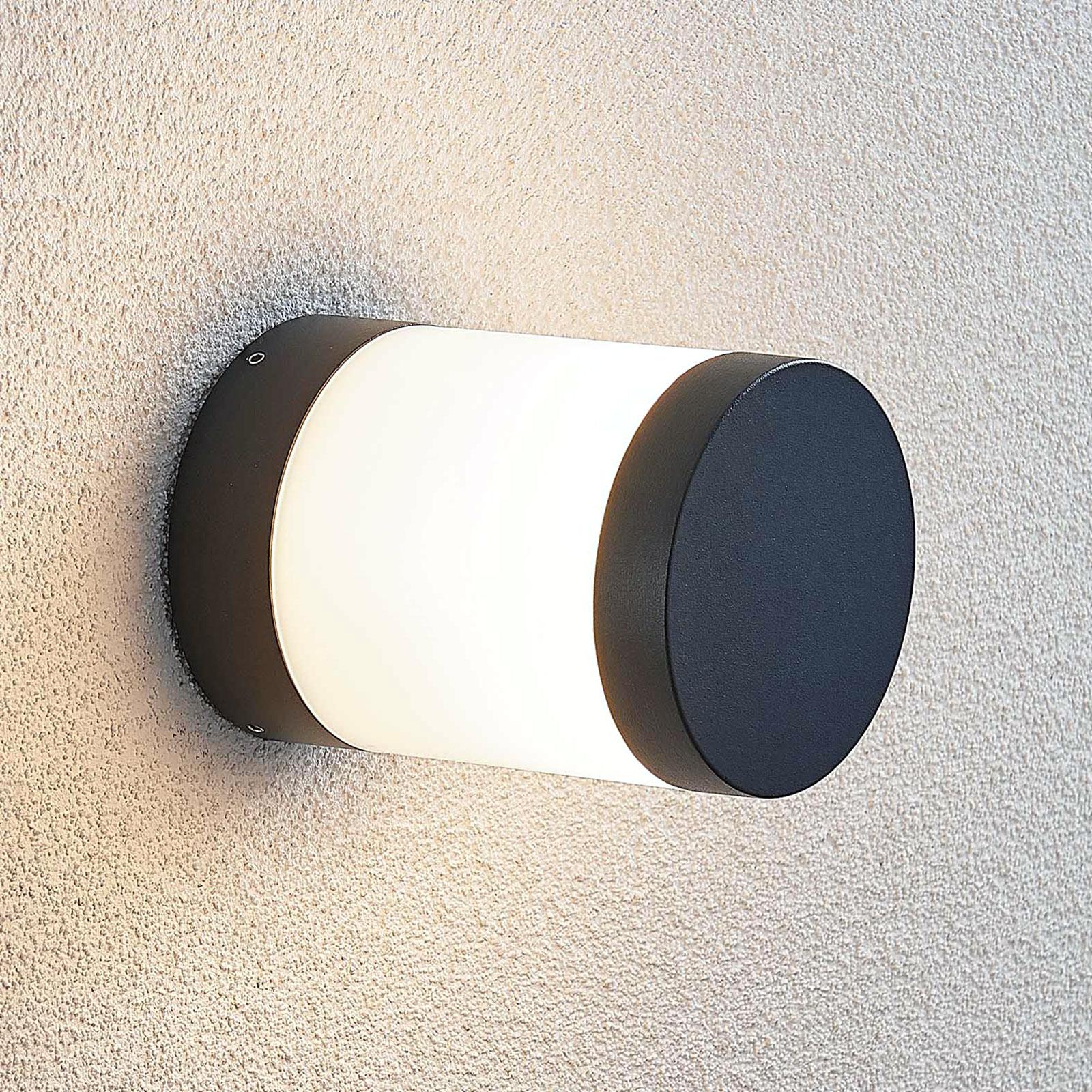 LED-ulkoseinälamppu Nitalia, pyöreä, tummanharmaa