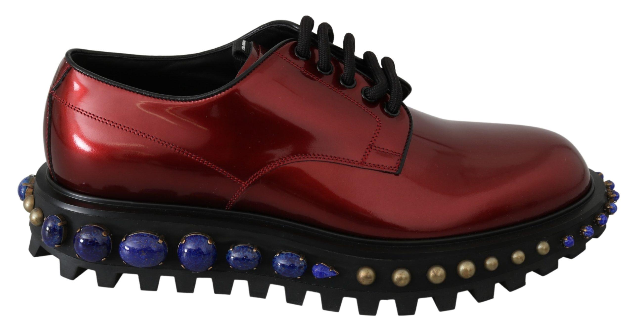 Dolce & Gabbana Men's Leather Crystals Studded Derby Shoe Red MV3005 - EU42/US9