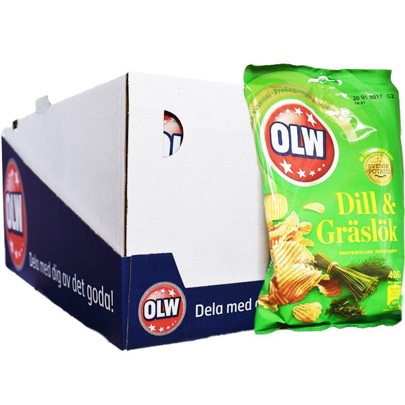 Hel Låda Chips Dill & Gräslök 20 x 40g - 25% rabatt