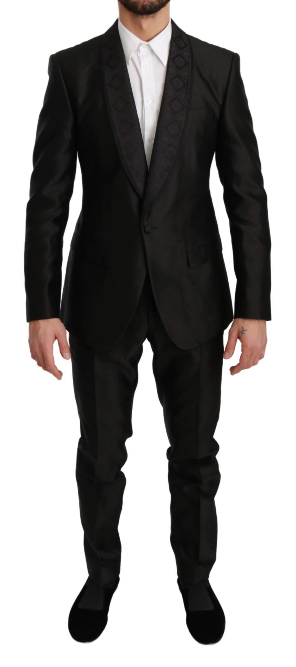 Dolce & Gabbana Men's Slim Fit 2 Piece MARTINI Silk Suit Black KOS1727 - IT48   M