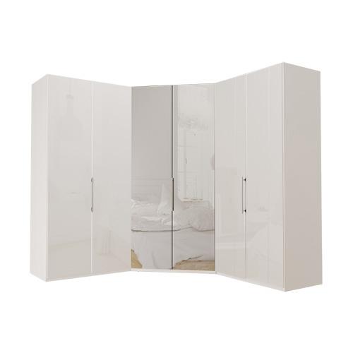 Garderobe Atlanta - Hvit 100 + walk-in + 100, 216 cm, Hvitt glass