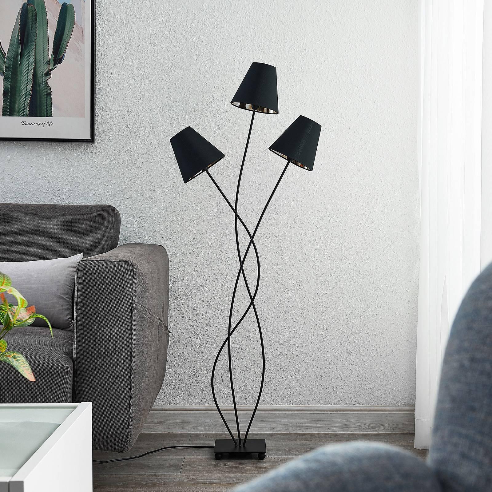 Lindby Komalie -lattiavalo, 3-lamppuinen, musta