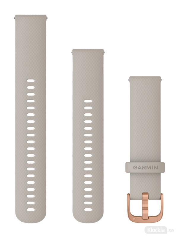 Garmin 20mm Ljust sandfärgat silikonarmband med roséguldfärgade detaljer