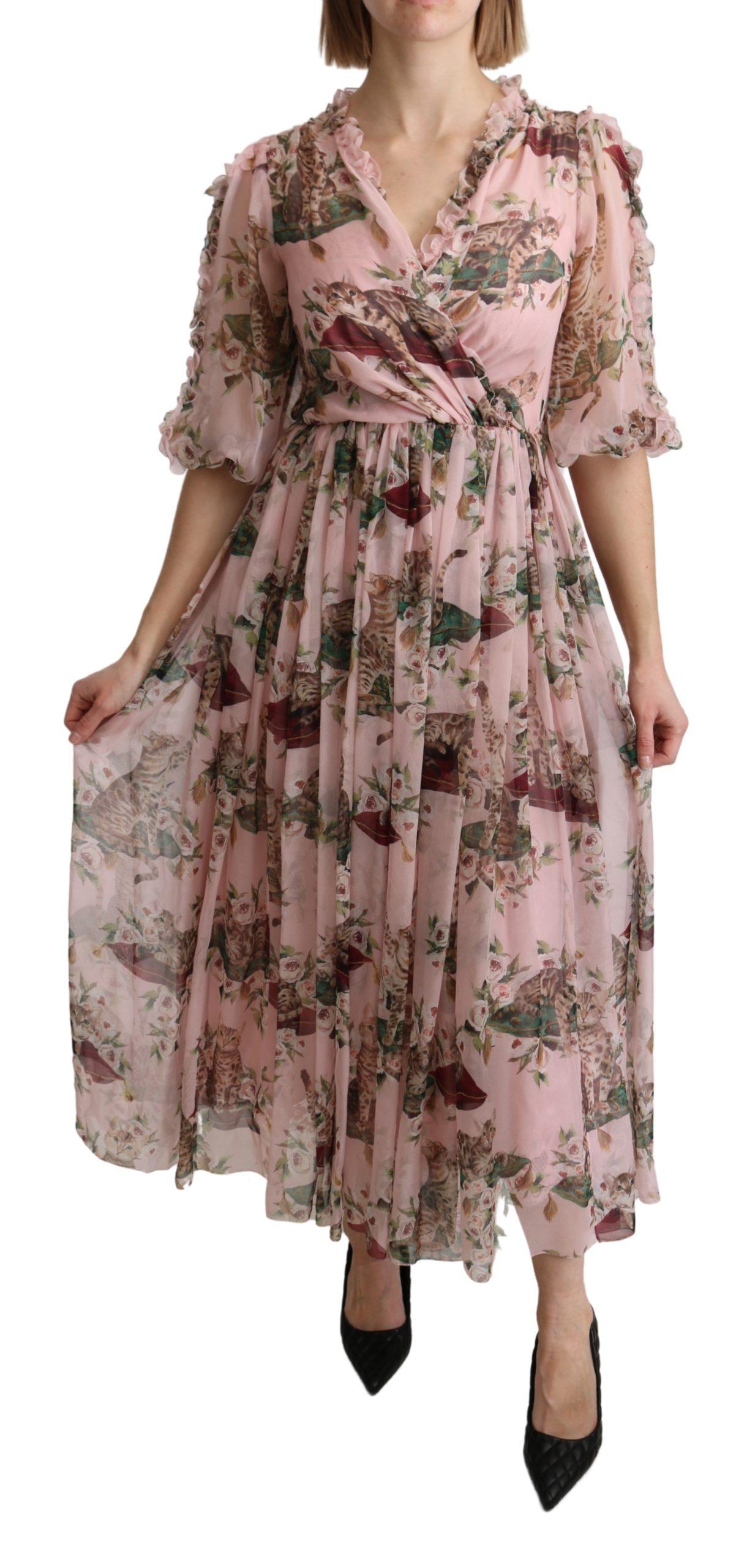Dolce & Gabbana Women's Bengal Cat Print A-line Silk Dress Pink DR2604 - IT38|XS