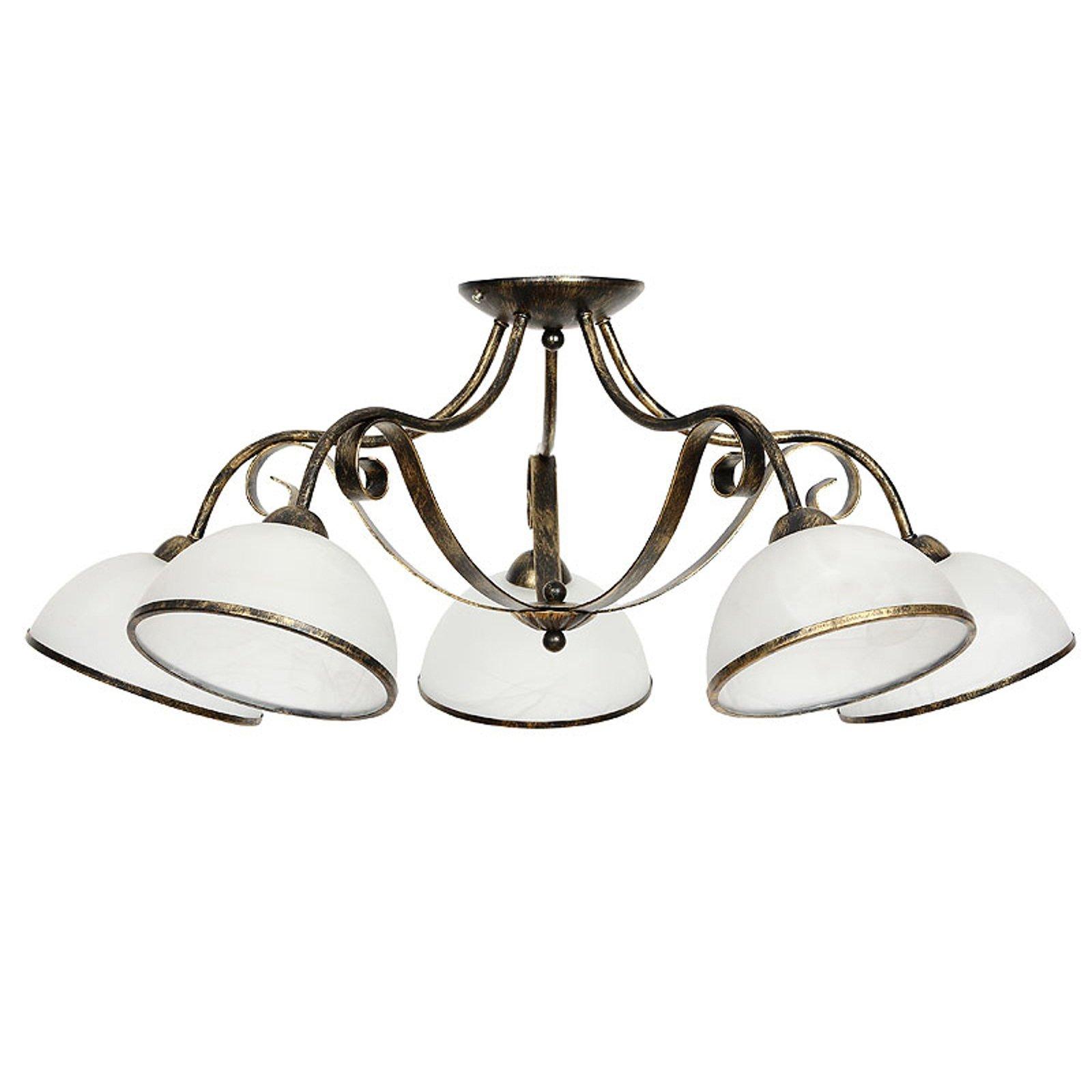 Antica taklampe i landsted-stil, 5 lyskilder