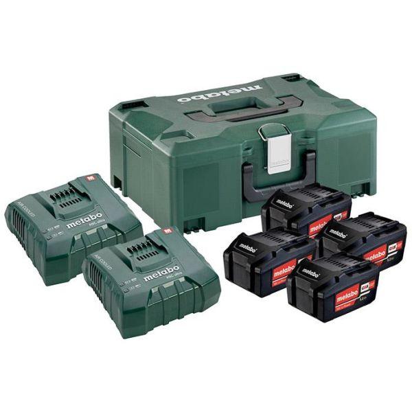 Metabo Bas-set Ladepakke 4x 5,2Ah batterier, 2x lader og koffert