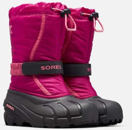 Sorel Youth Flurry Vintersko, Deep Blush/Tropic Pink, 32
