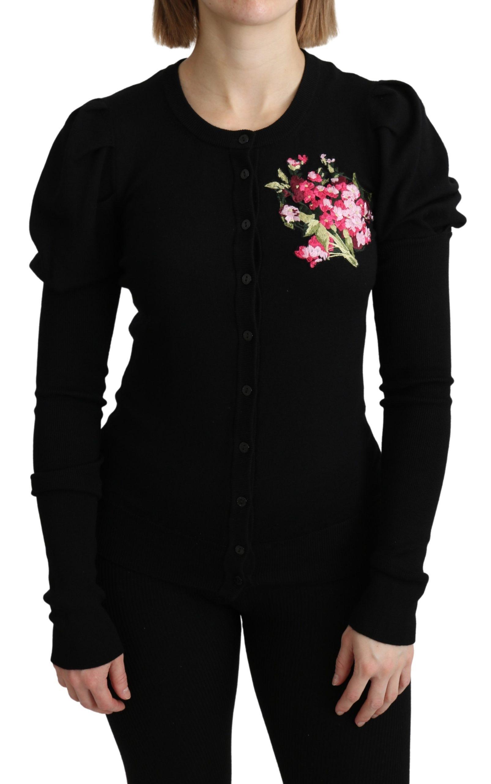 Dolce & Gabbana Women's Floral LS Cardigan Black TSH4906 - IT40|S