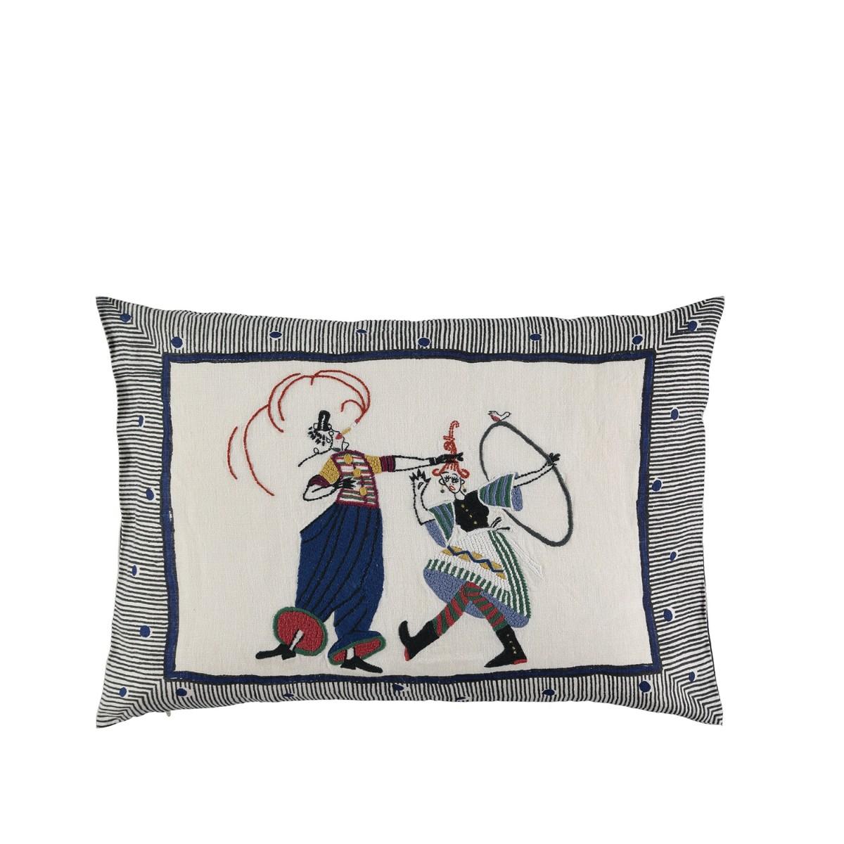 William Yeoward   Circus Day - Indigo Cushion