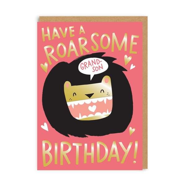 Grandson Roarsome Birthday Greeting Card